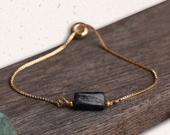 Black Tourmaline Adjustable Gold Bracelet, Negative Energy Protection, Raw Black Tourmaline Stone, October Birthstone Jewelry