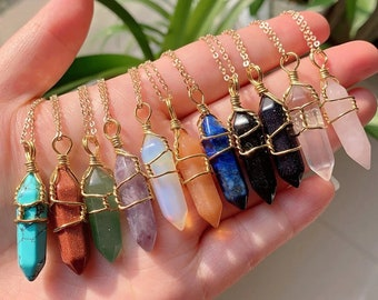 Crystal Wire Wrapped Necklaces, Rose Quartz, Amethyst, Opal, Aventurine, Gold Healing Stone Chakra Point Birthstone Gemstone Necklaces