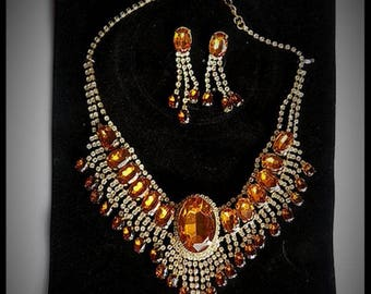 Adornment necklace and earrings Gold - River - AMBER RHINESTONES - costume jewelry - gift - woman - girl - friend - wedding