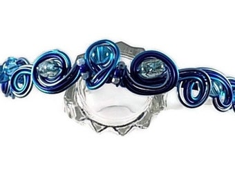 Headband child blue aluminum wire and beads