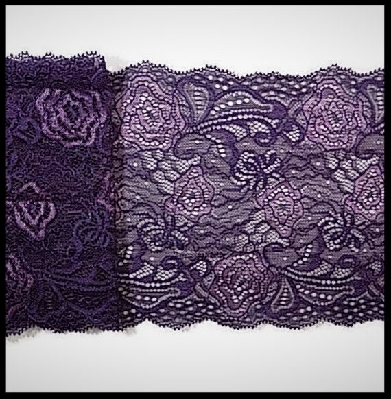 dentelle élastique violet 16 cm - brodée fleurs mercerie - mercerie fleurs - couture - embellissement - élastique - costume vénitien - lingerie - pas cher 5c7627