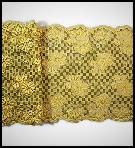 dentelle élastique jaune 15 cm cm cm - brodée fleurs - mercerie - couture - embellissement - élastique - costume vénitien - lingerie - historique 4affad
