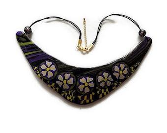bib necklace flower polymer - bib - multicolored purple - flower necklace handmade - handcrafted jewelry - unique