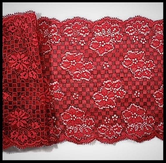 dentelle élastique rouge 15 cm cm cm - brodée fleurs - mercerie - couture - embellissement - élastique - costume vénitien - lingerie - damier 416ecf