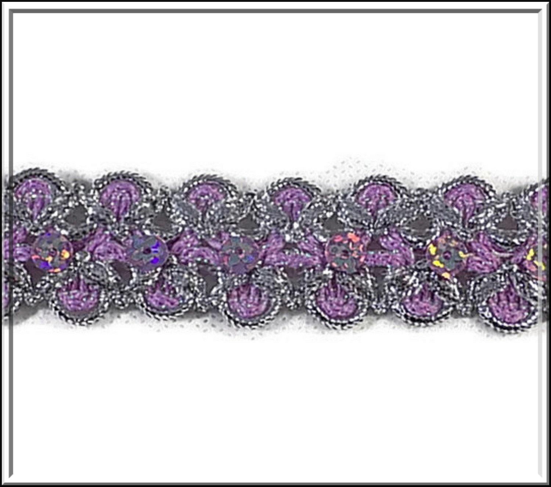 dentelle dentelle dentelle 2.5 cm - brodé sequin irisé - mercerie - couture - embellissement - galon brodé - costume vénitien - rose mauve argent  - pas cher fc10c4