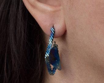 Triangle Earrings Geometric Earrings Titanium Earrings Studs Hypoallergenic Studs Minimalist Jewelry Art Deco Earrings Wire Wrapped Jewelry