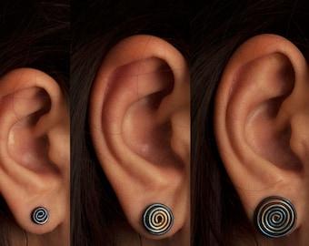 Spiral Earrings Hypoallergenic Studs Titanium Earrings Post Earrings Birthday Gifts Earrings Studs Geometric Earrings Minimalist Earrings