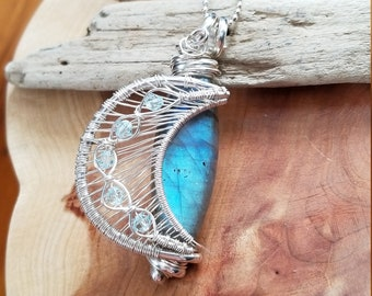 Blue Labradorite Moon pendant, wire wrap, wire wrapped jewelry, silver, OOAK, unique, blue moon