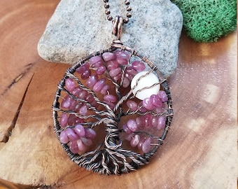Pink Tourmaline Tree of Life pendant, wire wrap, wire wrapped jewelry, moon, oxidized copper, OOAK, October birthstone