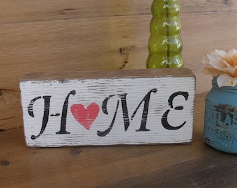 Wood Block Shelf Sitter Home Heart Love Family Decor Rustic Distressed Shabby Chic Cottage Boho