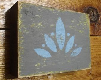Reclaimed Wood Block Shelf Sitter Lotus Yoga Namaste Rustic Distressed Weathered Home Decor Gift