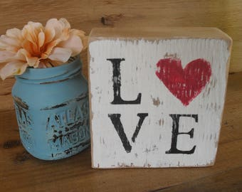 Wood Block Shelf Sitter Sign Love Heart Distressed Rustic Boho Gift For Her Cottage Shabby