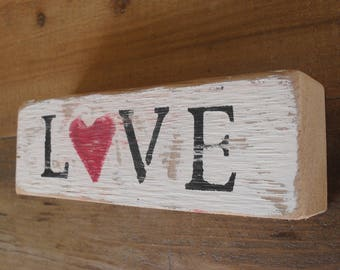 Wood Block Shelf Sitter Love Heart Distressed Cottage Decor Shabby Chic Boho Rustic Gift For Her
