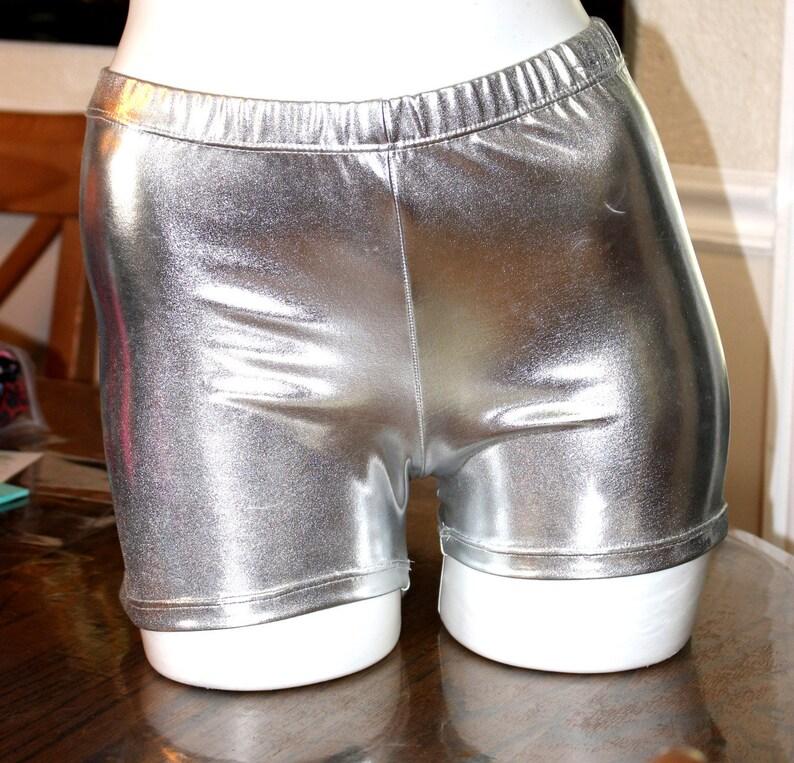 15594348075 Shorts shiny silver mettalic lycra spandex spankys spankie dance gymnastics  cheer leading modest cut longer girth higher on waist adult