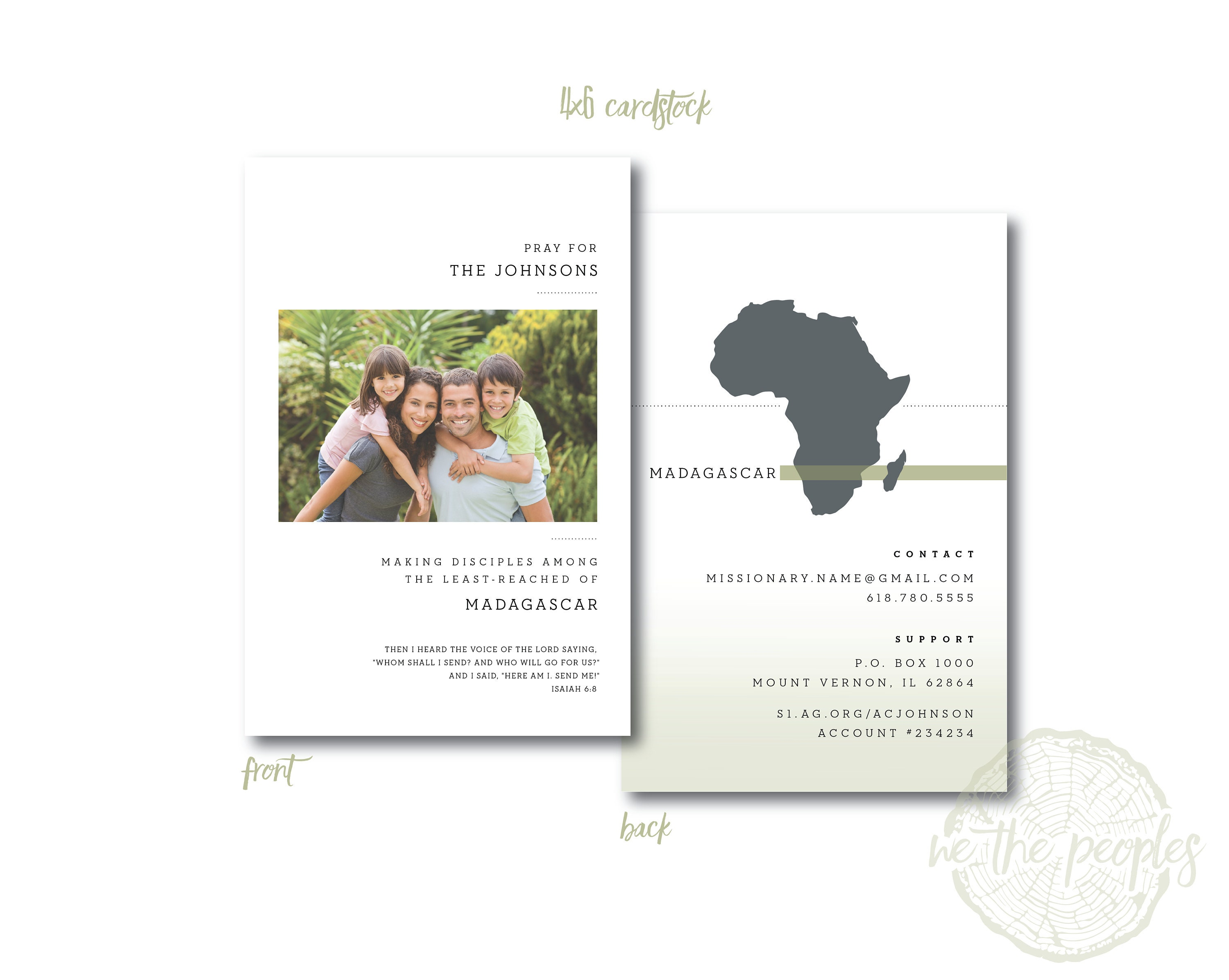 Simple Minimal Photo Missionary Prayer Cards Missions Announcement Card