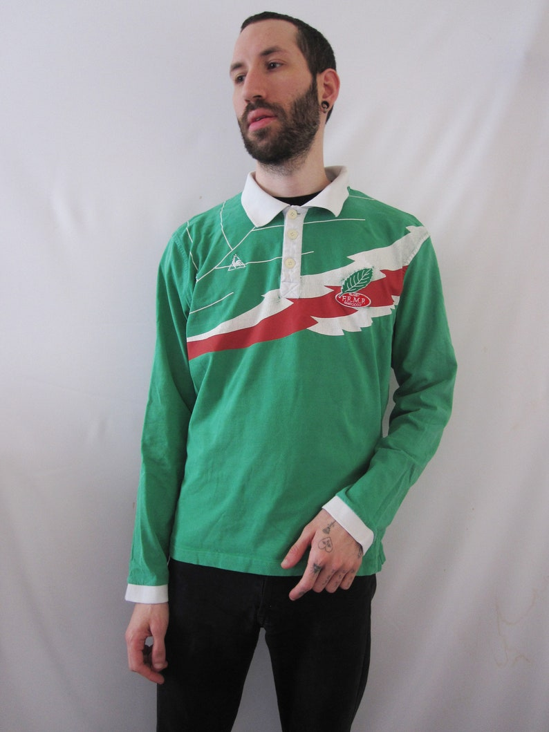 Size L VINTAGE Le Coq Sportif Morocco Rugby Team Green Polo Shirt Long Sleeves Preppy