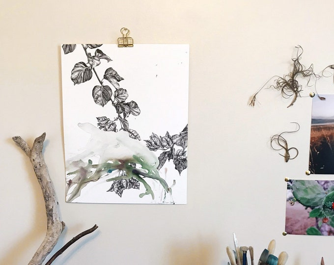F Collaboration No. 2 - Original Watercolor and Ink Illustration - Bougainvillea