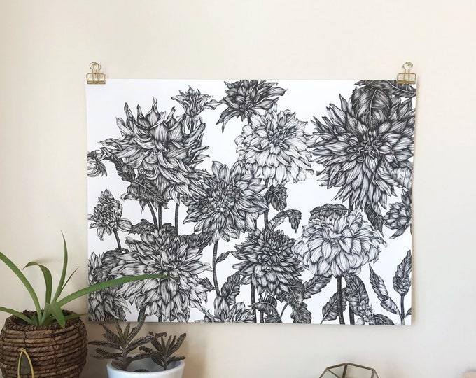 Featured listing image: Dahlias of Enders Island - Original Ink Illustration