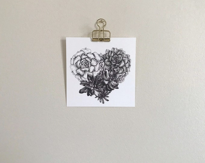 Succulent Heart - Square Art Print