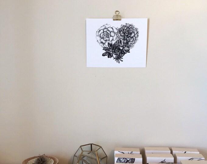 Succulent Heart Print - Botanical Illustration - Art Print