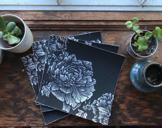 Peony Art Print - Linocut Print