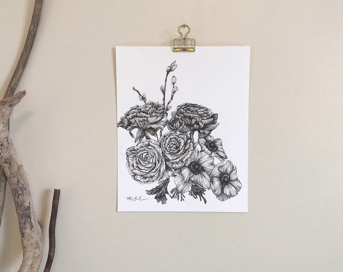 Pussy Willow Bouquet - Original Ink Drawing
