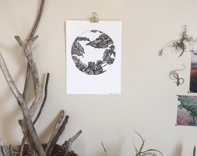 Circle Composition No. 16 Coffee Plant - Original Ink Illustration