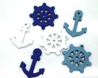 10 marine-themed wooden button