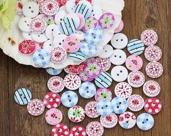 10 colour printed buttons 15 mm