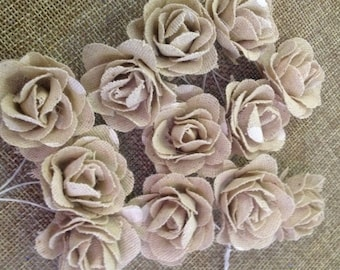 12 Jute Roses for decoration