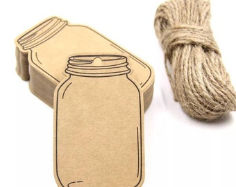10 tags in kraft cardboard-shaped jar with twine