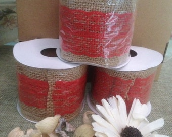 Creative Christmas Ribbon in Jute and red lace 6 cm x 3 meters
