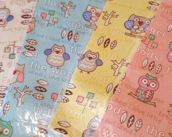 Adhesive Fabric with Owls