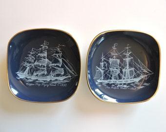 "Nautical Dark Blue Sandland Hanley Staffordshire Made in England Clipper Ship Whaler Two 2 Wall Decor 4.5"" Trinket Dish coasters"