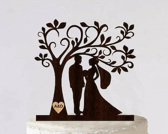 Tree Wedding Cake Topper Personalized Monogram Cake Topper Wooden Rustic Cake Silhouette Cake Topper topper