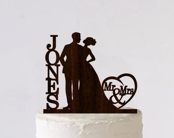 Mr & Mrs Cake Topper Wedding Cake Topper African American Couple Personalized Monogram Cake Topper Wooden Rustic Cake Silhouette Cake Topper