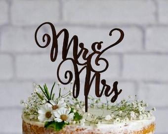 Wedding Cake Topper Mr Mrs  Custom Wooden Mr and Mrs Cake Topper Gold cake topper Silver cake topper