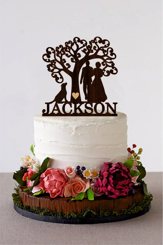 Wedding Cake Topper Silhouette Couple With Dog Tree Wedding Etsy