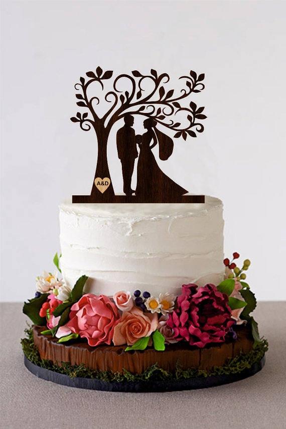 Baum Hochzeitstorte Topper Personalisierte Monogramm Cake Etsy