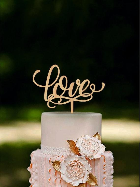 Liebe Hochzeitstorte Topper Holz Cake Topper Rustikale Cake Etsy