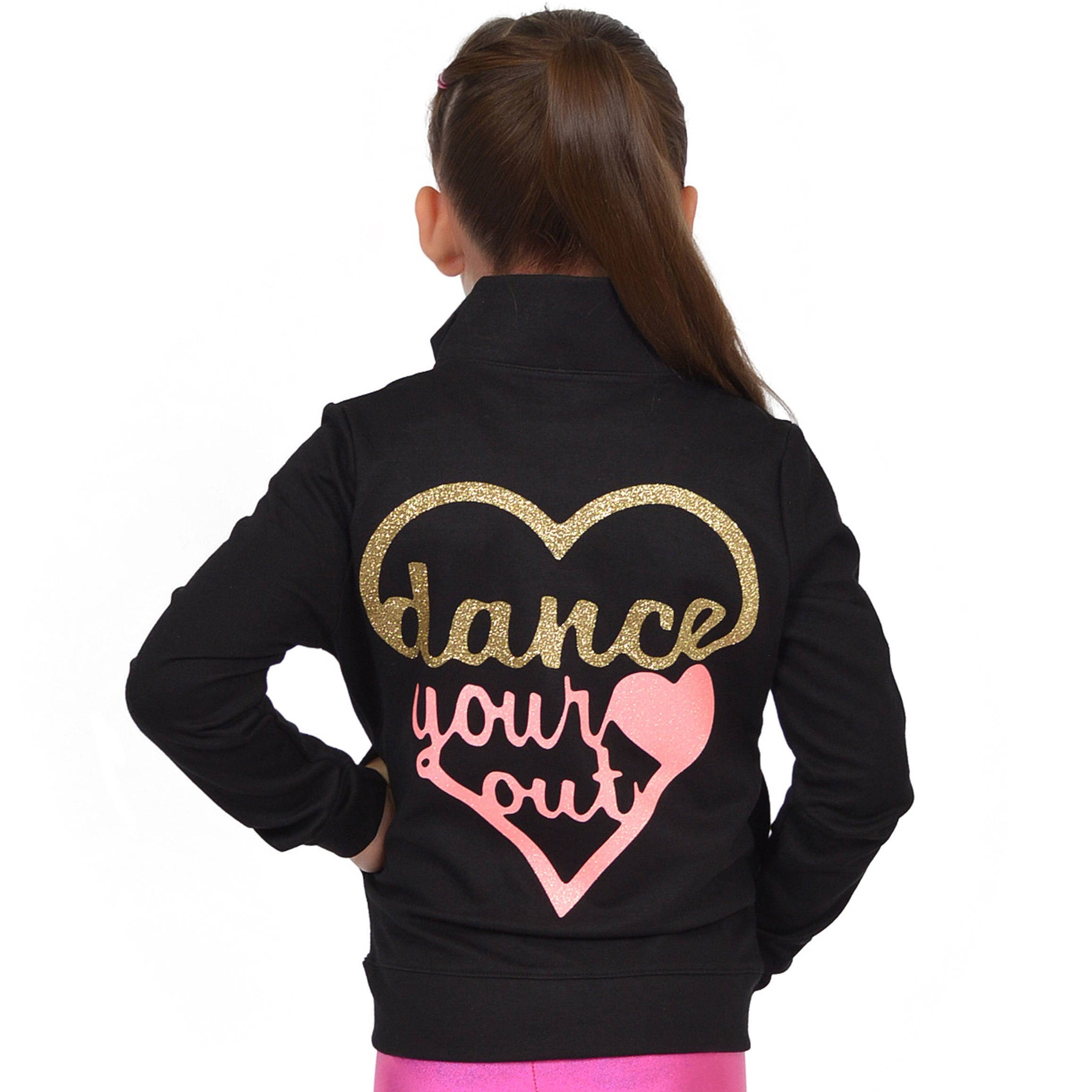 18583cb248d5 Girl s GLITTER Dance Your Heart Out Warm Up Jacket