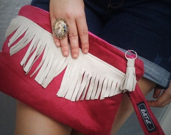 Burgundy suede and fringe Tan suede pouch