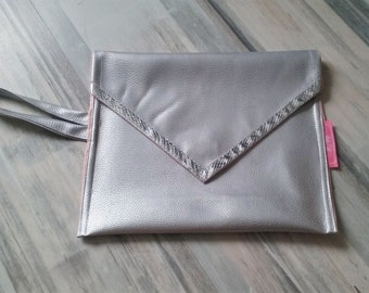 Silver faux leather envelope clutch