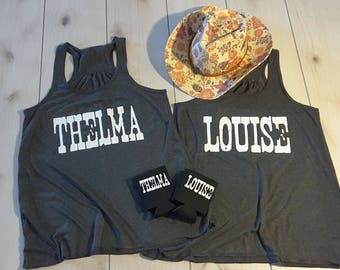 57304570 Thelma and Louise Tank Top Set,Thelma and Louise /Best friends forever, BFF,  Bridesmaid Shirts, Team Bride Shirt,Bride Gift, Bridesmaid Gift