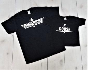 a2ae787a Top Gun, Maverick and Goose Shirts,Matching Shirt Set, Fathers Day Shirt,  Father and Son Shirt,