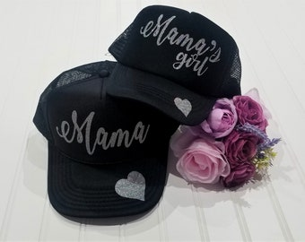 311fe124 Mama and Mamas girl matching Hat Set, Matching Hat Set, Mother Daughter,  Father Son, Sisters, Best Friends trucker hat, custom made hat set