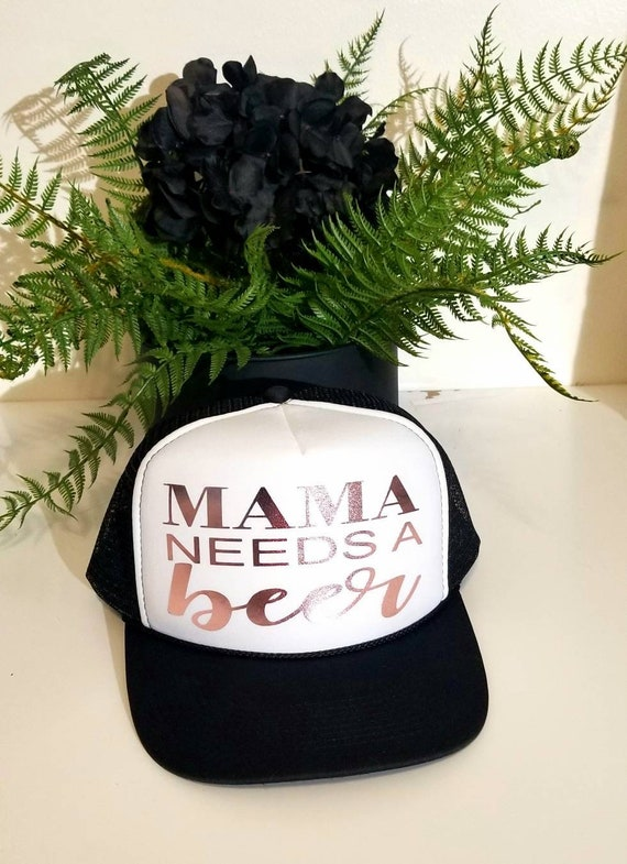 Mama needs a Beer Hat Rose Gold Foil Hat. Baseball and  c174d1553e88