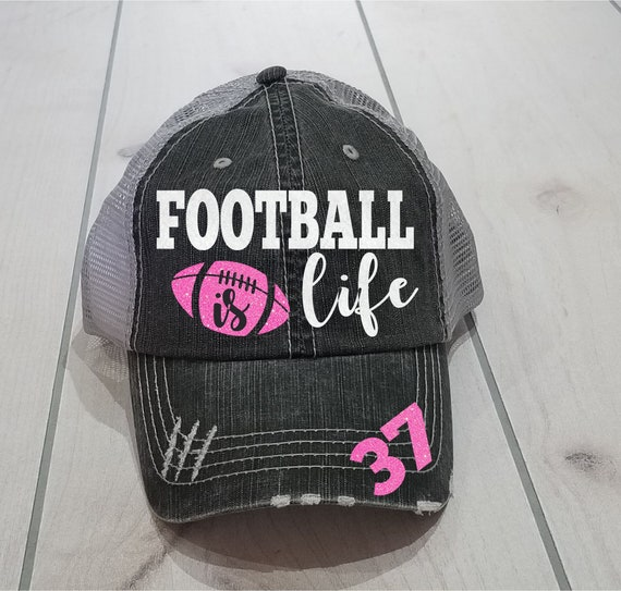 7f9974b3316 Football Mom Hat Customized Football Mom Cap High Ponytail