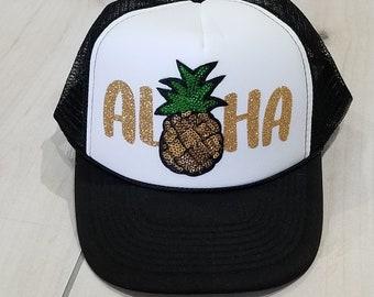 Aloha (Hat) Pineapple, Pineapple Hat, Vacay Trucker Hat, Hat, Sparkly, Aloha,Hawaii