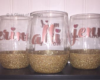 Glittered bridesmaid glasses, stemless wine glasses, bridesmaid glasses, bridesmaid wine glasses, a glass of design, rose gold wedding, gift